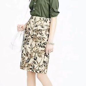 J. Crew Gold Leaf Foil Pencil Skirt